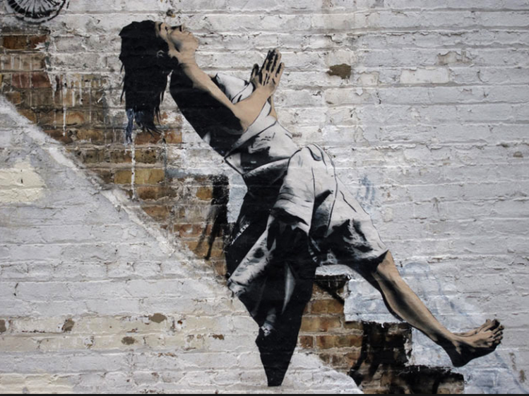 art-graffiti-banksy-specter-women-stairway-chicago-photo-