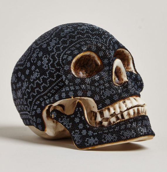 art-Beaded-skulls- huichol-people-Mexico-black