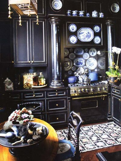 Kelly Wearstler Interior Kitchen Black Rubbed Finish Over Bleu Laquered