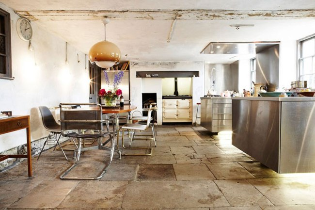 interior-kitchen-cabinets-stainless-lighting-large-buld-pendant-steel-rustic-unfishied-interior-sarah-lavoine