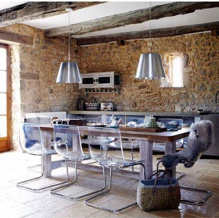 interior-kitchen-cool-concrete-cabinetry-metallic-drawers-dining-brick-wall-silver-lighting-meatllic-pendant-europe