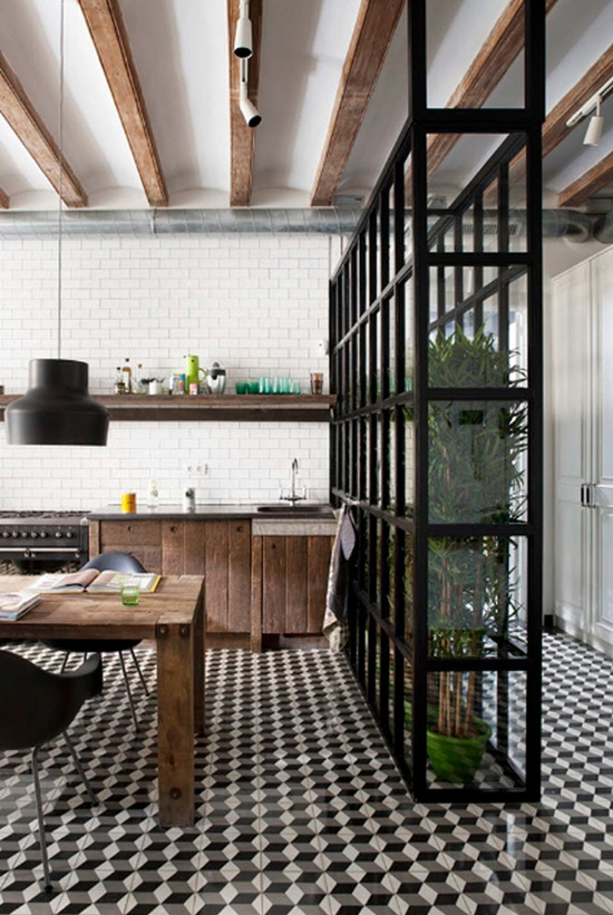 interior-kitchen-floor-tiles-cement-barcelona-reclaimed-wood-cabinet-doors-glass-shelfnig-partion-design-mauricio-fuertes-Egue-y-Seta-studio-1